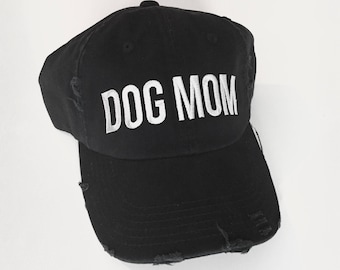DISTRESSED DOGMOM HAT | Dog Mom, Dog Dad, Dog Person, Dog Parent, Dog Mom Gift, Dog Dad Gift, Dog Lover Gift