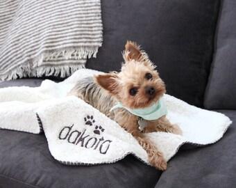 CUSTOM NAME+PAWS (small)     24x24 Dog Blanket, Pet Blanket, Custom Dog, Custom Pet, Pet Sherpa Blanket