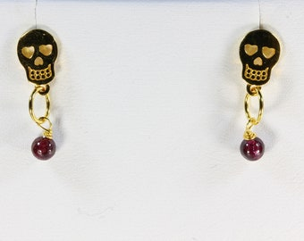 Gold Plated Sterling Silver Sugar Skull Earrings with Garnet