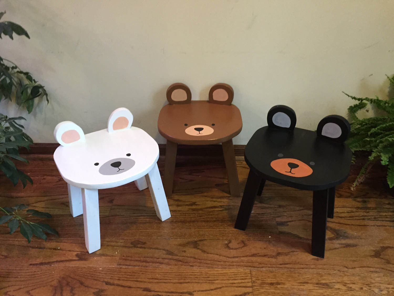 Black Bear Chair Toddler Stools Hand Painted Wooden Animal