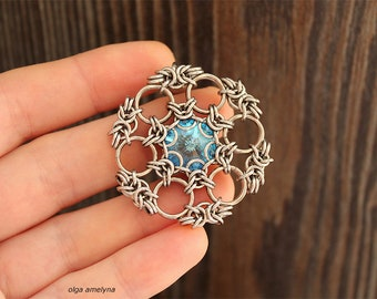 Vitrail Snowflake Pendant Chainmaille Tutorial, Captive Pendant Chainmaille Tutorial, Captured Rivoli Chainmail Tutorial