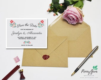 Floral Wedding Save the Date • DIY Printable Wedding Stationery • Editable PDF Template • Instant Download, #PG0001_2