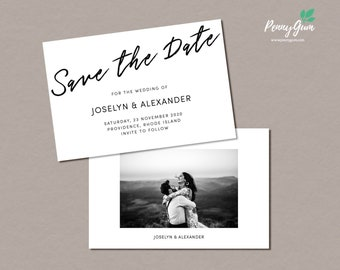 Simple Wedding Save the Date • Editable Template • DIY Printable Wedding Stationery • Instant Download, #PG0011_2