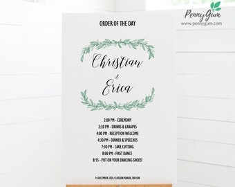Rustic Wedding Order of the Day Sign Template • Printable Wedding Poster • DIY Wedding Stationery • Instant Download Templett, #PG0009_26
