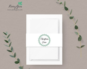 Rustic Belly Band Template • Wedding Invitation Monogram Wrap • DIY Printable Editable Template • Instant Download,  #PG0009_14