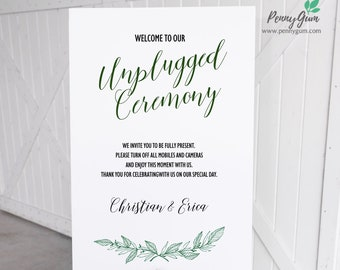 Rustic Wedding Unplugged Sign Template • Printable Wedding Poster • DIY Wedding Stationery • Instant Download, #PG0009_25