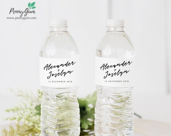 Simple Wedding Water Bottle Label Template • DIY Printable, Editable Template • Personalised Custom Label • Instant Download, #PG0011_23