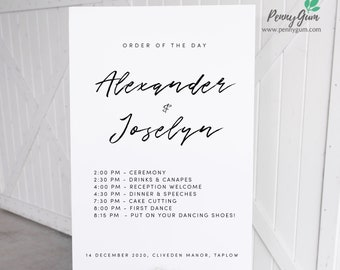 Simple Wedding Order of the Day Sign Template • Printable Wedding Poster • DIY Wedding Stationery • Instant Download Templett, #PG0011_26