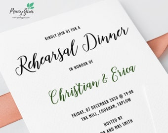 Rustic Wedding Rehearsal Dinner Invitation Printable • Editable Template, DIY Wedding Stationery • Instant Download, #PG0009_19