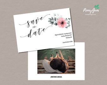 Floral Wedding Save the Date • Editable Template • DIY Printable Wedding Stationery • Instant Download, #PG0015_2