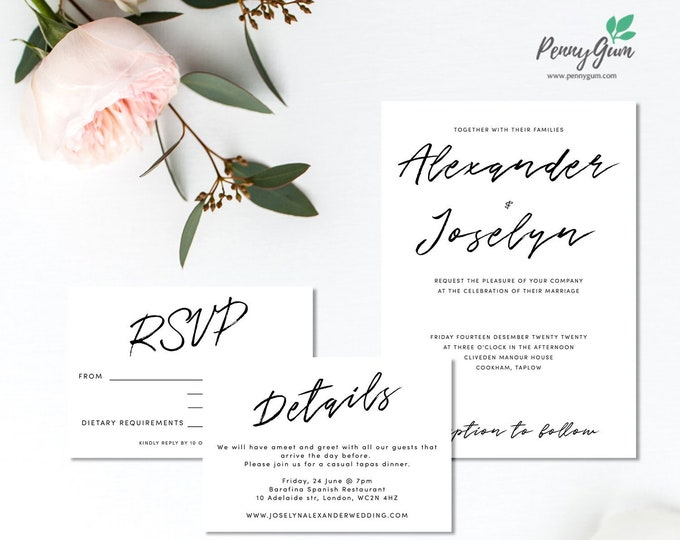 Featured listing image: Simple Wedding Invitation Set • Editable Template Suite for RSVP, Details • DIY Printable Wedding Stationery • Instant Download, #PG0011_3