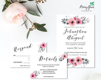 Floral Wedding Invitation Set • Editable Template Suite for RSVP, Details • DIY Printable Wedding Stationery • Instant Download, #PG0015_3