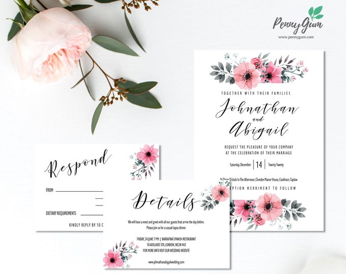 Featured listing image: Floral Watercolor Wedding Invitation Set • Editable Template Suite for RSVP, Details • DIY Printable Wedding Stationery  #PG0015_3