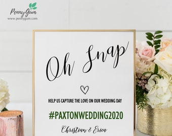 Rustic Oh Snap Wedding Sign Template • Hashtag Your Photos DIY Printable Sign • Wedding Stationery • Instant Download, #PG0009_13
