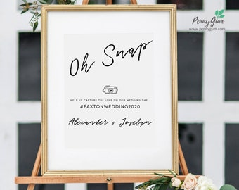 Simple Oh Snap Wedding Sign Template • Hashtag Your Photos DIY Printable Sign • Wedding Stationery • Instant Download, #PG0011_13