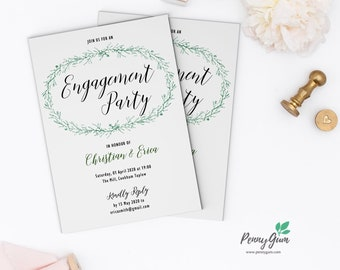 Rustic Engagement Party Invitation Printable • Editable Template, DIY Wedding Stationery • Instant Download, #PG0009_20