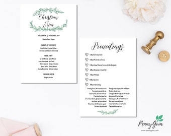 Rustic Wedding Ceremony Program and Timeline • Editable Order of Service Template • DIY Printable Stationery • Instant Download, #PG0009_4