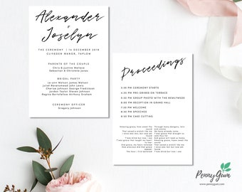 Simple Wedding Ceremony Program and Timeline • Editable Order of Service Template • DIY Printable Stationery • Instant Download, #PG0011_4