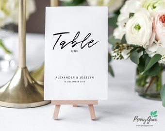 Simple Wedding Reception Table Numbers • Editable Template • DIY Printable Wedding Stationery • Instant Download, #PG0011_8