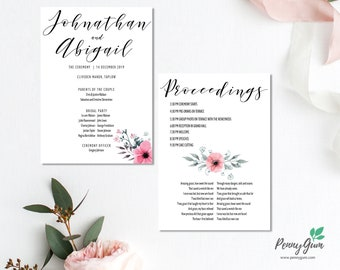 Floral Wedding Ceremony Program and Timeline • Editable Order of Service Template • DIY Printable Stationery • Instant Download, #PG0015_4