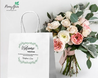 Rustic Welcome Bag Label Template • DIY Printable Hotel Bag Sticker, Editable Wedding Stationery • Instant Download, #PG0009_24