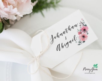 Floral Watercolor Wedding Favor Tags •  Editable Template Favour • DIY Printable Wedding Stationery • Instant Download, #PG0015_9
