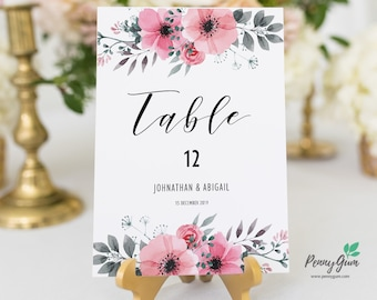 Floral Watercolor Wedding Reception Table Numbers • Editable Template • DIY Printable Wedding Stationery • Instant Download, #PG0015_8