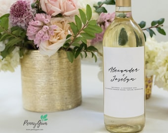 Simple Wedding Wine Bottle Label • DIY Printable Template • Editable Custom Wine Label • Instant Download, #PG0011_22
