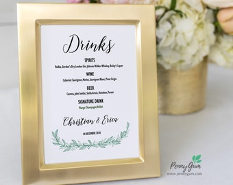 Rustic Wedding Bar Menu Template • Printable Signature Drinks Menu Sign • DIY Wedding Stationery • Instant Download, #PG0009_27