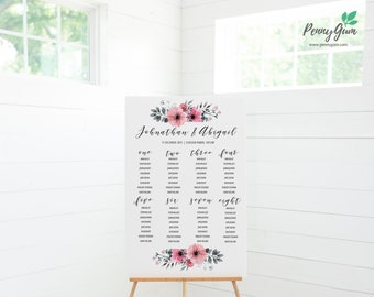 Floral Wedding Reception Seating Plan • Editable Template • DIY Printable Wedding Stationery • Instant Download, #PG0015_11