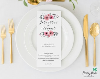 Floral Wedding Reception Food Menu • Editable Template • DIY Printable Wedding Stationery • Instant Download, #PG0015_5