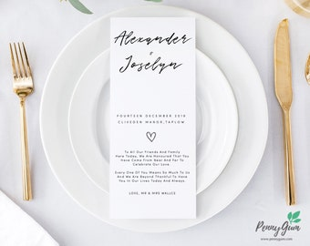 Simple Wedding Reception Food Menu • Editable Template • DIY Printable Wedding Stationery • Instant Download, #PG0011_5