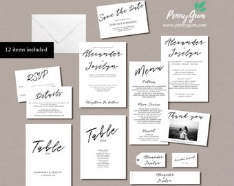 Simple Wedding Stationery Suite • Editable Template Set • DIY Printable Set of 12 Items, Instant Download • Bundle, #PG0011_1