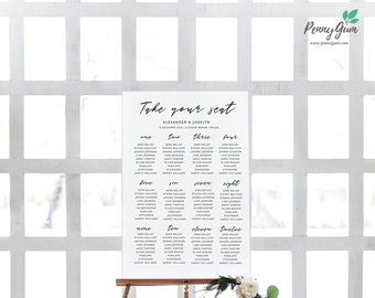 Simple Wedding Reception Seating Plan • Editable Template • DIY Printable Wedding Stationery • Instant Download, #PG0011_11
