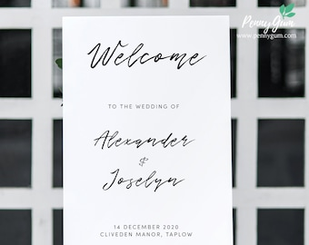 Simple Wedding Welcome Sign Template • Printable Wedding Welcome Poster • DIY Wedding Stationery • Instant Download,  #PG0011_12