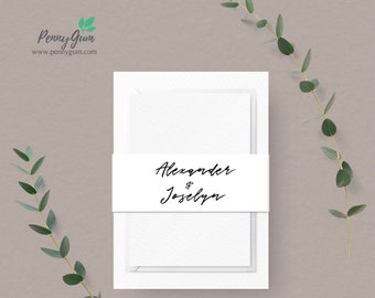 Simple Belly Band Template • Wedding Invitation Monogram Wrap • DIY Printable Editable Template • Instant Download,  #PG0011_14