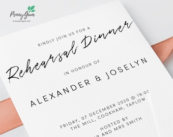 Simple Wedding Rehearsal Dinner Invitation Printable • Editable Template, DIY Wedding Stationery • Instant Download, #PG0011_19