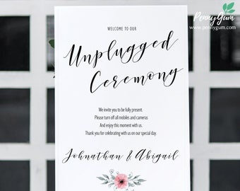 Floral Watercolor Wedding Unplugged Sign Template • Printable Wedding Poster • DIY Wedding Stationery • Instant Download, #PG0015_25