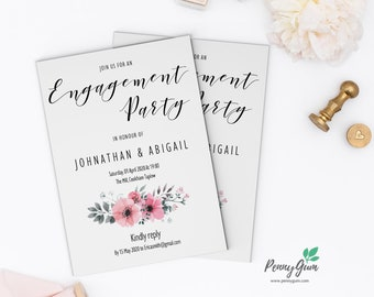 Floral Engagement Party Invitation Printable • Editable Template, DIY Wedding Stationery • Instant Download, #PG0015_20