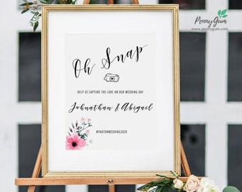Floral Watercolor Oh Snap Wedding Sign Template • Hashtag Your Photos DIY Printable Sign • Wedding Stationery • Instant Download, #PG0015_13