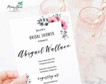 Floral Watercolor Bridal Shower Invitation • Editable Template, DIY Printable Wedding Stationery • Instant Download, #PG0015_18