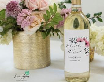 Floral Wedding Wine Bottle Label • DIY Printable Template • Editable Custom Wine Label • Instant Download, #PG0015_22