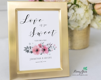 Floral Watercolor Love Is Sweet Sign • Wedding Dessert Table Sign Template • DIY Printable Wedding Reception Sign #PG0015_28