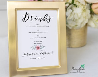 Floral Watercolor Wedding Bar Menu Template • Printable Signature Drinks Menu Sign • DIY Wedding Stationery • Instant Download, #PG0015_27