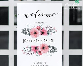 Floral Watercolor Wedding Welcome Sign Template • Printable Wedding Welcome Poster • DIY Wedding Stationery • Instant Download,  #PG0015_12