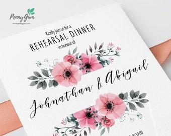 Floral Wedding Rehearsal Dinner Invitation Printable • Editable Template, DIY Wedding Stationery • Instant Download, #PG0015_19