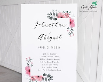 Floral Watercolor Wedding Order of the Day Sign Template • Printable Wedding Poster • DIY Wedding Stationery • Instant Download #PG0015_26