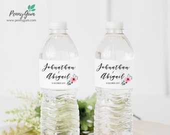 Floral Wedding Water Bottle Label Template • DIY Printable, Editable Template • Personalised Custom Label • Instant Download, #PG0015_23
