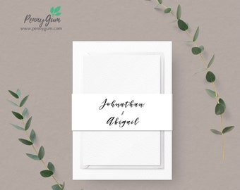 Floral Watercolor Belly Band Template • Wedding Invitation Monogram Wrap • DIY Printable Editable Template • Instant Download,  #PG0015_14