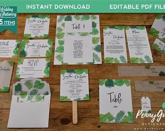 Greenery Wedding Stationery Suite • Editable Template Set • DIY Printable Set, Instant Download • Bundle, #PG0008_1